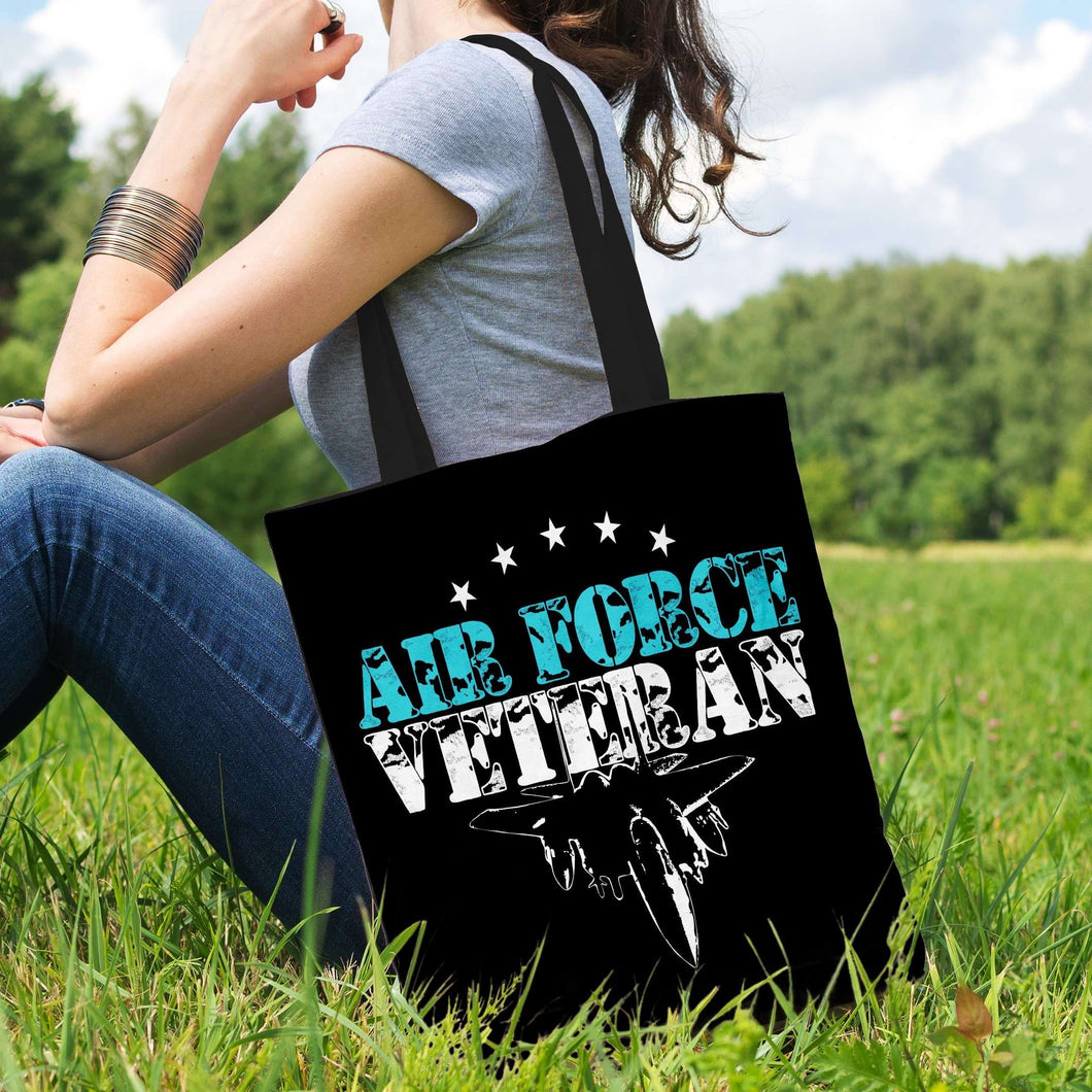Designs by MyUtopia Shout Out:Air Force Veteran Fabric Totebag Reusable Shopping Tote,Black,Reusable Fabric Shopping Tote Bag