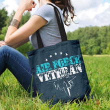 Load image into Gallery viewer, Designs by MyUtopia Shout Out:Air Force Veteran Fabric Totebag Reusable Shopping Tote,Charcoal,Reusable Fabric Shopping Tote Bag