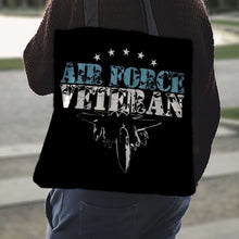 Load image into Gallery viewer, Designs by MyUtopia Shout Out:Air Force Veteran Fabric Totebag Reusable Shopping Tote