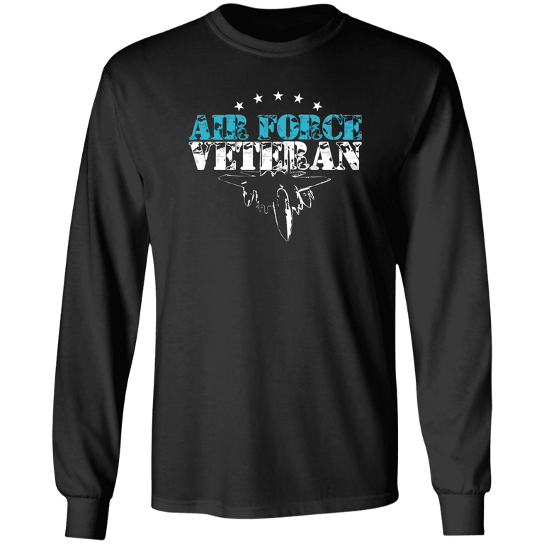Designs by MyUtopia Shout Out:Air Force Veteran Long Sleeve Ultra Cotton T-Shirt,S / Black,Long Sleeve T-Shirts