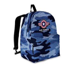 Designs by MyUtopia Shout Out:Air Force Wings Backpack,Large (18 x 14 x 8 inches) / Adult (Ages 13+) / Blue Camo,Backpacks