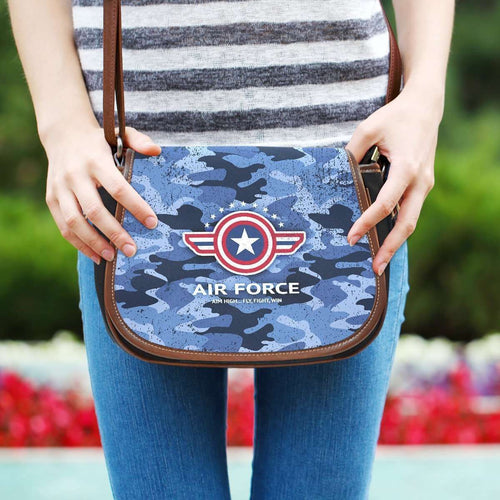 Designs by MyUtopia Shout Out:Air Force Wings Canvas Saddlebag Style Crossbody Purse