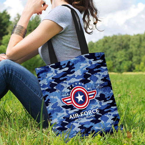 Designs by MyUtopia Shout Out:Air Force Wings Fabric Totebag Reusable Shopping Tote
