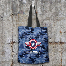 Load image into Gallery viewer, Designs by MyUtopia Shout Out:Air Force Wings Fabric Totebag Reusable Shopping Tote