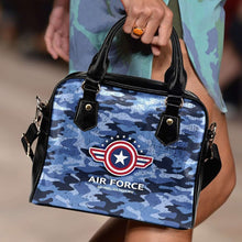 Load image into Gallery viewer, Designs by MyUtopia Shout Out:Air Force Wings Faux Leather Handbag with Shoulder Strap