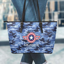 Load image into Gallery viewer, Designs by MyUtopia Shout Out:Air Force Wings Faux Leather Totebag Purse,Large (11 x 17 x 6) / Blue Camo,tote bag purse