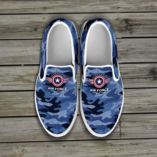 Designs by MyUtopia Shout Out:Air Force Wings Slip-on Shoes,Women's / Women's US6 (EU36) / Blue Camo,Slip on sneakers