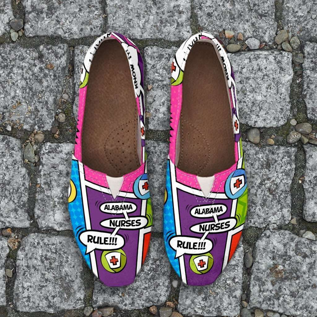 Designs by MyUtopia Shout Out:Alabama Nurse Comic Strip Casual Canvas Slip on Shoes Women's Flats