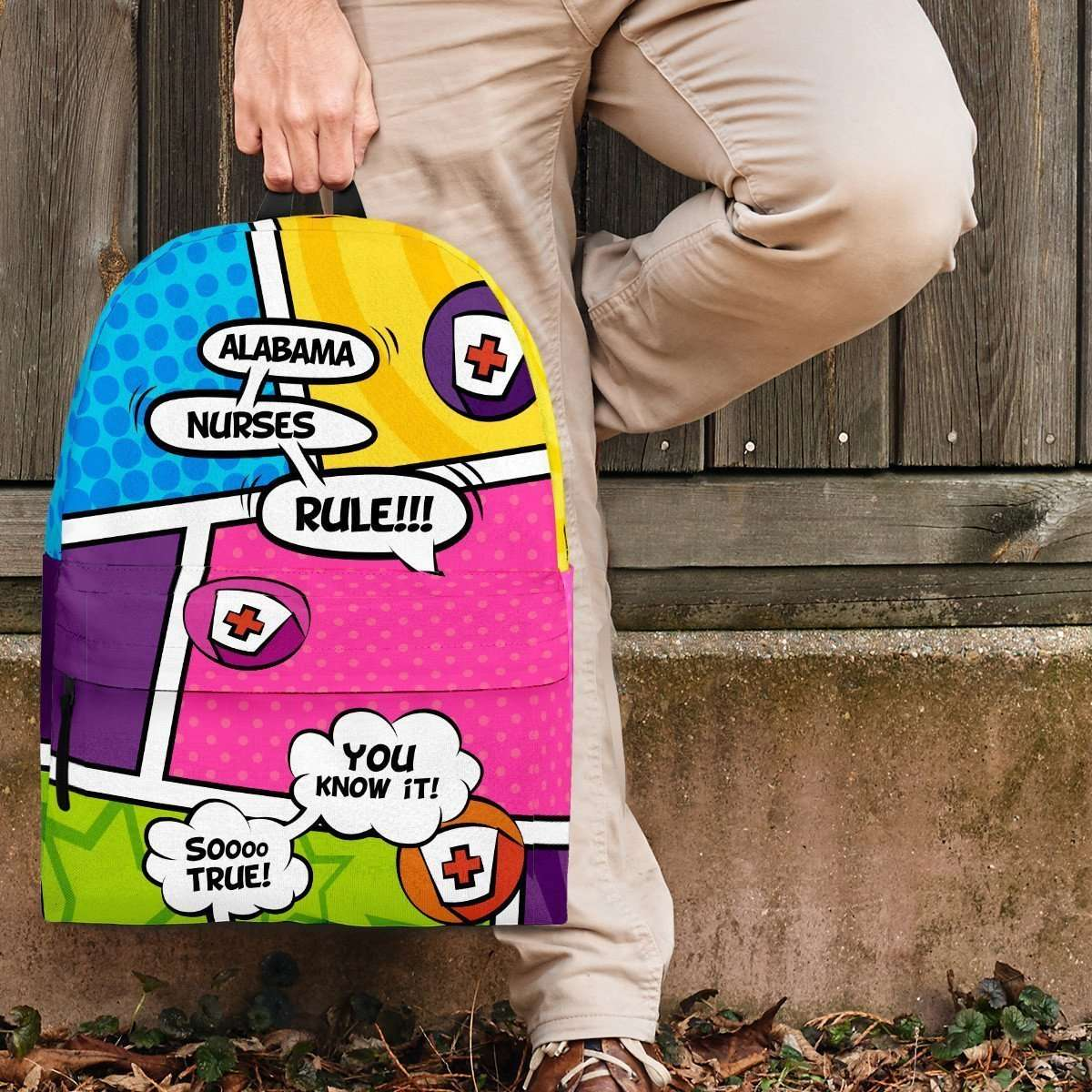 Designs by MyUtopia Shout Out:Alabama Nurses Rule! Comic Strip Backpack