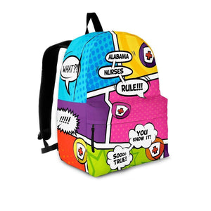 Designs by MyUtopia Shout Out:Alabama Nurses Rule! Comic Strip Backpack,Large (18 x 14 x 8 inches) / Adult (Ages 13+) / Multicolor,Backpacks