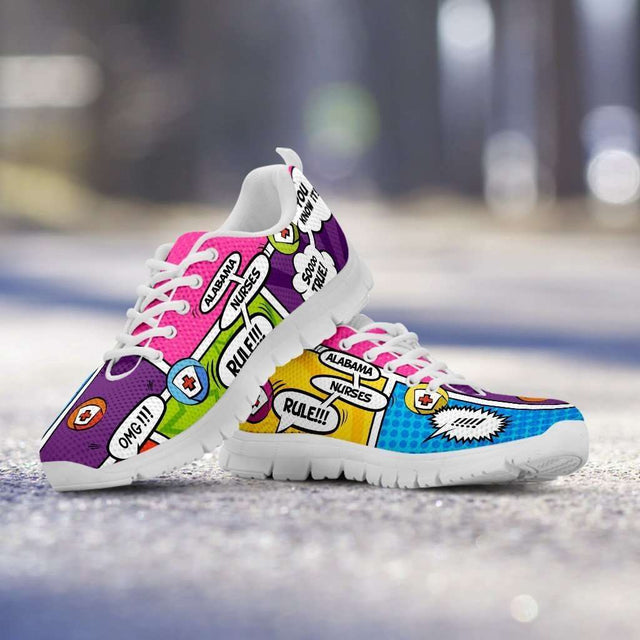 Designs by MyUtopia Shout Out:Alabama Nurses Rule! Comic Strip Design Running Shoes,Mens / Mens US5 (EU38) / Multicolor,Running Shoes