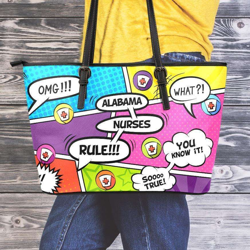 Designs by MyUtopia Shout Out:Alabama Nurses Rule! Comic Strip Faux Leather Totebag Purse