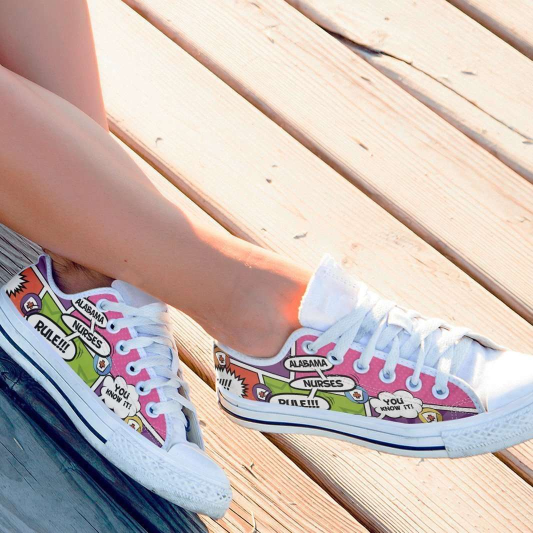 Designs by MyUtopia Shout Out:Alabama Nurses Rule! Comic Strip Lowtop Shoes,Women's / Women's US6 (EU36) / Multicolor,Lowtop Shoes