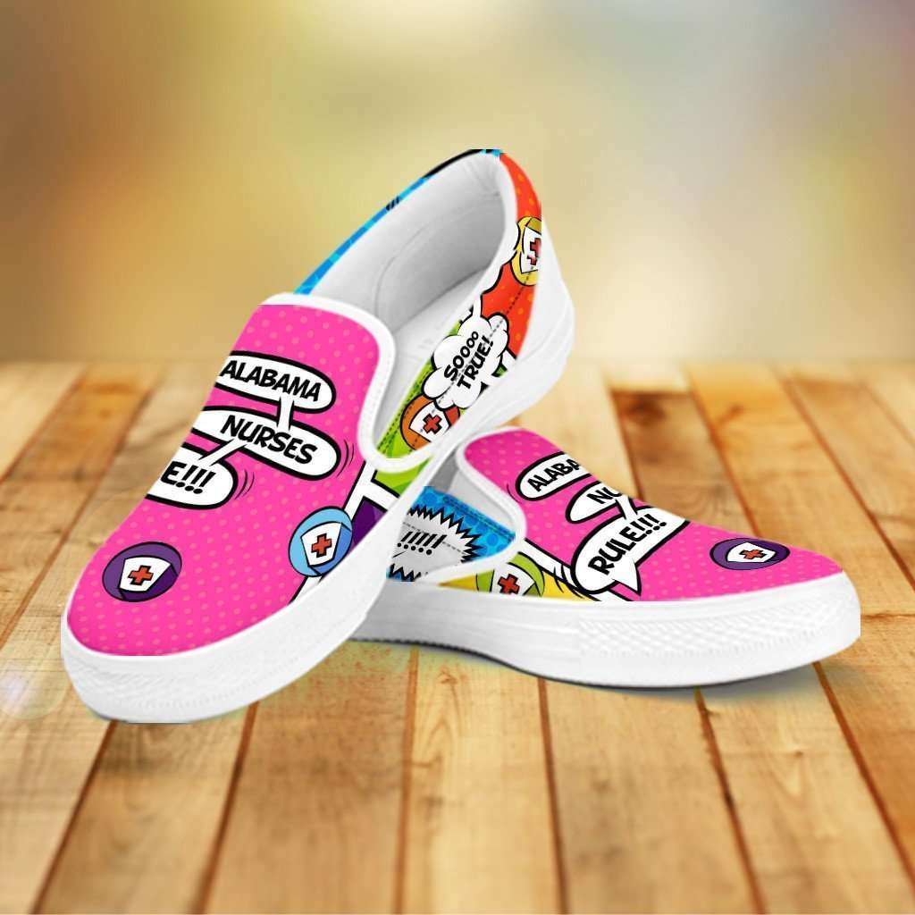 Designs by MyUtopia Shout Out:Alabama Nurses Rule! Comic Strip Slip-on Shoes,Women's / Women's US6 (EU36) / Multicolor,Slip on sneakers