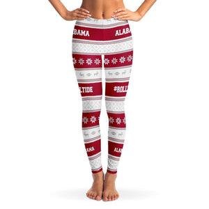 Designs by MyUtopia Shout Out:Alabama #RollTide Fashion Leggings,XS / Red/White,Leggings - AOP