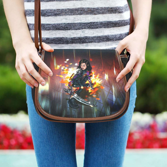 Designs by MyUtopia Shout Out:Alita Battle Angel Canvas Saddlebag Style Crossbody Purse