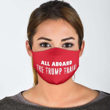 Load image into Gallery viewer, Designs by MyUtopia Shout Out:All Aboard The Trump Train Adult Fabric Face Mask with Elastic Ear Loops