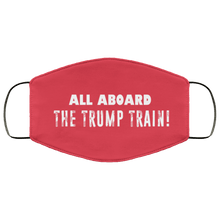 Load image into Gallery viewer, Designs by MyUtopia Shout Out:All Aboard The Trump Train Adult Fabric Face Mask with Elastic Ear Loops,3 Layer Fabric Face Mask / Red / Adult,Fabric Face Mask
