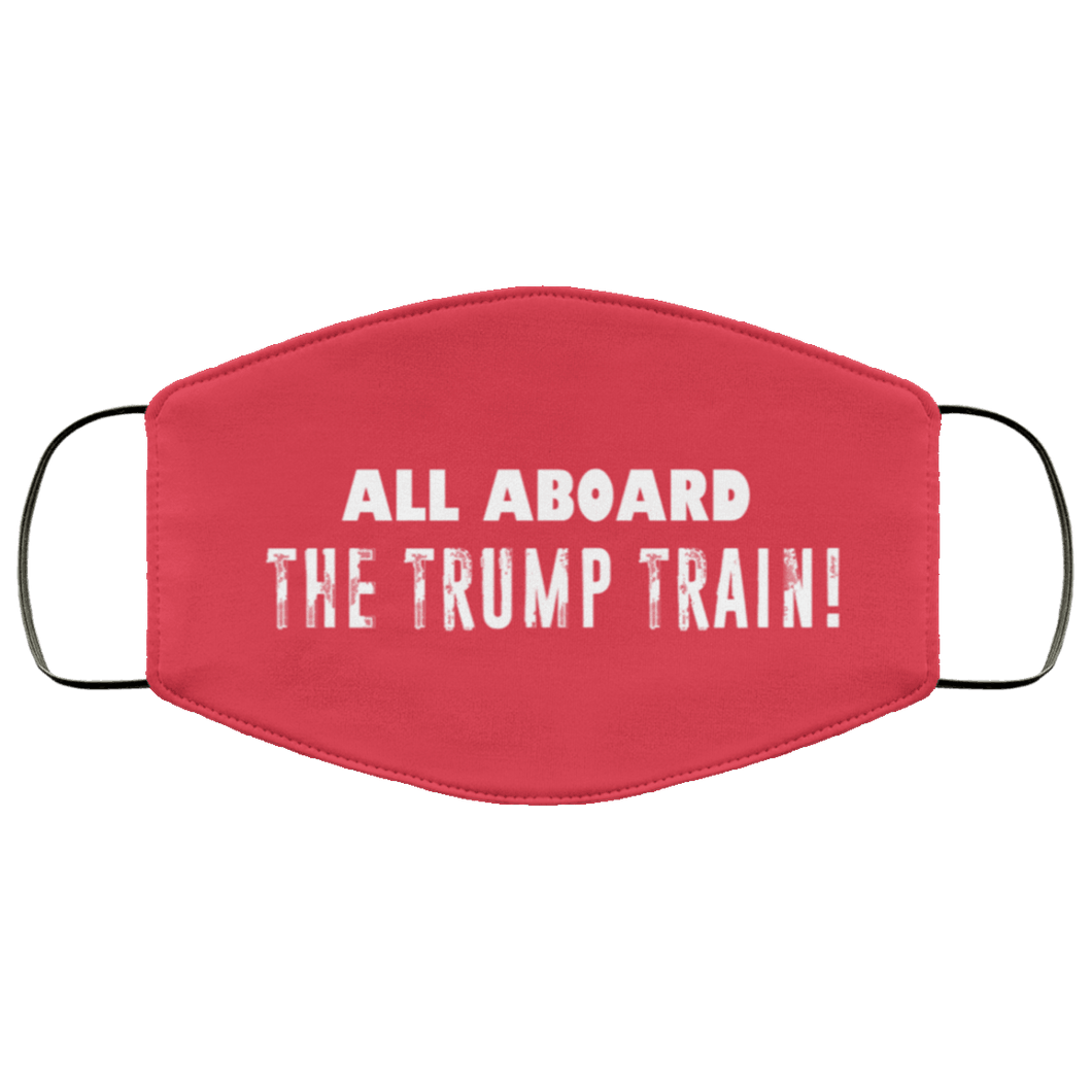 Designs by MyUtopia Shout Out:All Aboard The Trump Train Adult Fabric Face Mask with Elastic Ear Loops,3 Layer Fabric Face Mask / Red / Adult,Fabric Face Mask