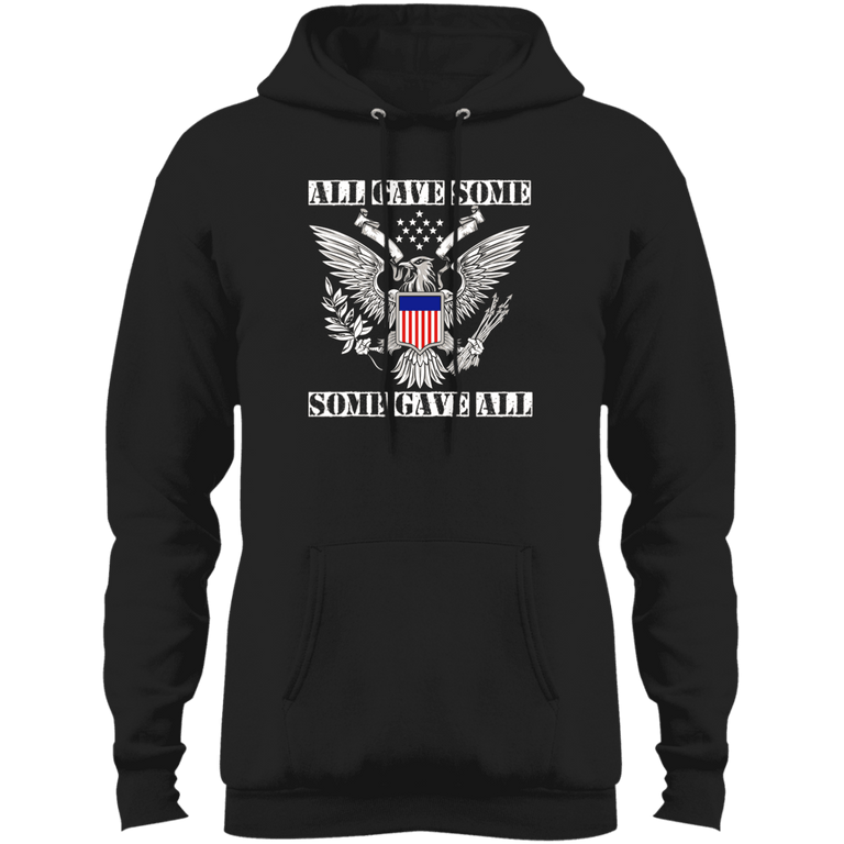 Designs by MyUtopia Shout Out:All Gave Some, Some Gave All Core Fleece Pullover Hoodie,S / Jet Black,Pullover Hoodie