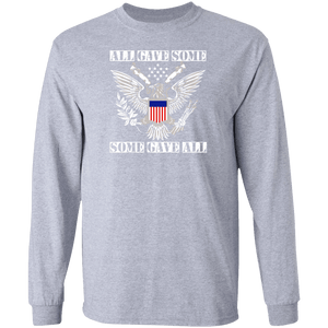 Designs by MyUtopia Shout Out:All Gave Some, Some Gave All  Long Sleeve Unisex Cotton T-Shirt,Sport Grey / S,Long Sleeve T-Shirts