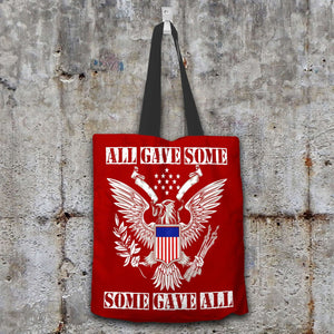 Designs by MyUtopia Shout Out:All Gave Some Some Gave All Memorial Day Fabric Totebag Reusable Shopping Tote,Crimson,Reusable Fabric Shopping Tote Bag