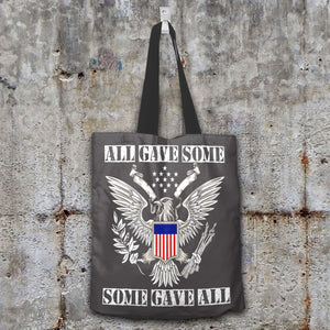 Designs by MyUtopia Shout Out:All Gave Some Some Gave All Memorial Day Fabric Totebag Reusable Shopping Tote,Grey,Reusable Fabric Shopping Tote Bag