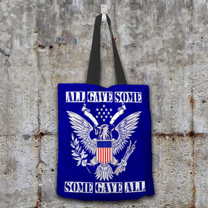 Designs by MyUtopia Shout Out:All Gave Some Some Gave All Memorial Day Fabric Totebag Reusable Shopping Tote,Navy,Reusable Fabric Shopping Tote Bag