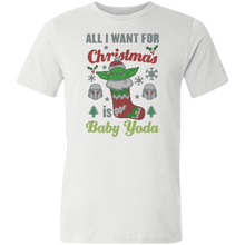 Load image into Gallery viewer, Designs by MyUtopia Shout Out:All I Want for Christmas is Baby Yoda Unisex Jersey Short-Sleeve T-Shirt,White / X-Small,Adult Unisex T-Shirt