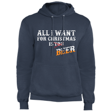 Load image into Gallery viewer, Designs by MyUtopia Shout Out:All I Want For Christmas Is Beer - Core Fleece Unisex Pullover Hoodie,Navy / S,Sweatshirts