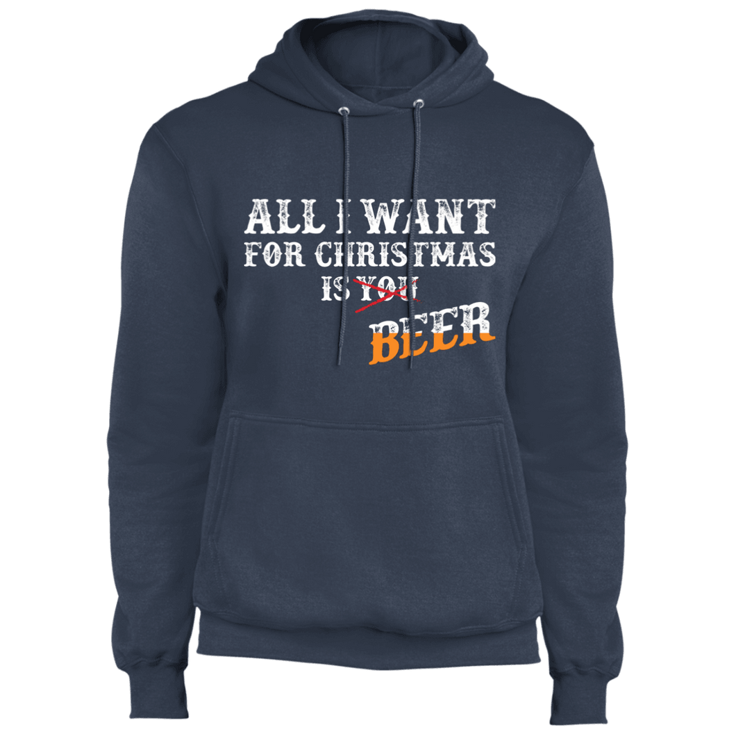 Designs by MyUtopia Shout Out:All I Want For Christmas Is Beer - Core Fleece Unisex Pullover Hoodie,Navy / S,Sweatshirts