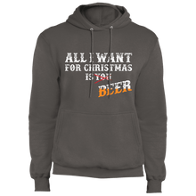 Load image into Gallery viewer, Designs by MyUtopia Shout Out:All I Want For Christmas Is Beer - Core Fleece Unisex Pullover Hoodie,Charcoal / S,Sweatshirts
