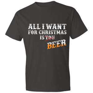 Designs by MyUtopia Shout Out:All I Want For Christmas Is Beer - Lightweight Unisex T-Shirt,Smoke / S,Adult Unisex T-Shirt