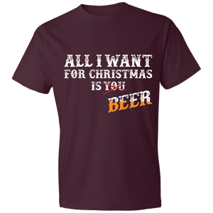 Designs by MyUtopia Shout Out:All I Want For Christmas Is Beer - Lightweight Unisex T-Shirt,Maroon / S,Adult Unisex T-Shirt