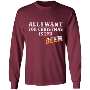 Designs by MyUtopia Shout Out:All I Want For Christmas Is Beer - Ultra Cotton Long Sleeve T-Shirt,Maroon / S,Long Sleeve T-Shirts