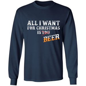 Designs by MyUtopia Shout Out:All I Want For Christmas Is Beer - Ultra Cotton Long Sleeve T-Shirt,Navy / S,Long Sleeve T-Shirts