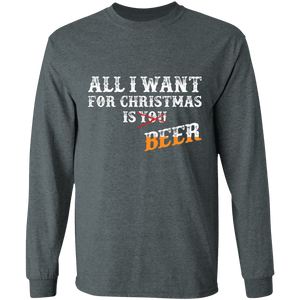 Designs by MyUtopia Shout Out:All I Want For Christmas Is Beer - Ultra Cotton Long Sleeve T-Shirt,Dark Heather / S,Long Sleeve T-Shirts