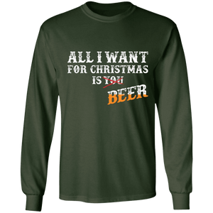 Designs by MyUtopia Shout Out:All I Want For Christmas Is Beer - Ultra Cotton Long Sleeve T-Shirt,Forest Green / S,Long Sleeve T-Shirts