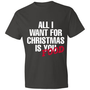 Designs by MyUtopia Shout Out:All I Want For Christmas Is Food - Lightweight Unisex T-Shirt,Smoke / S,Adult Unisex T-Shirt