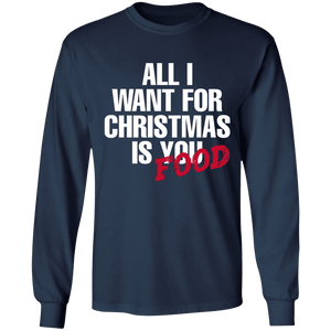 Designs by MyUtopia Shout Out:All I Want For Christmas Is Food - Ultra Cotton Long Sleeve T-Shirt,Navy / S,Long Sleeve T-Shirts