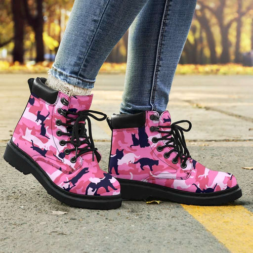 Designs by MyUtopia Shout Out:All over print Cat Camo All Season Vegan Micro-Suede Lace-up Boots