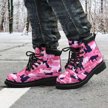 Load image into Gallery viewer, Designs by MyUtopia Shout Out:All over print Cat Camo All Season Vegan Micro-Suede Lace-up Boots