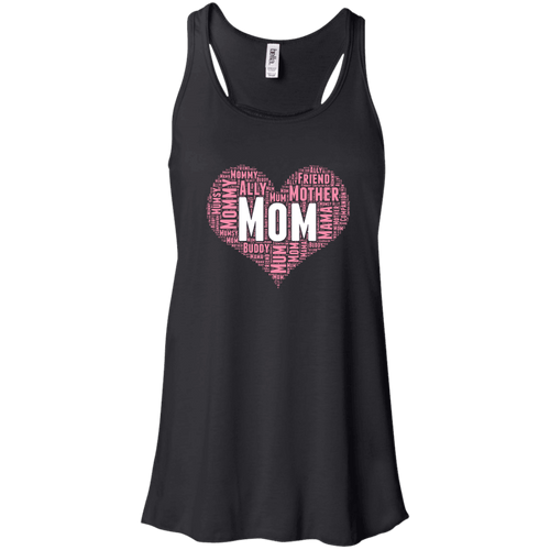 Designs by MyUtopia Shout Out:All the Ways Mom is Special in Your Heart Flowy Racerback Tank Top,Black / X-Small,Tank Tops