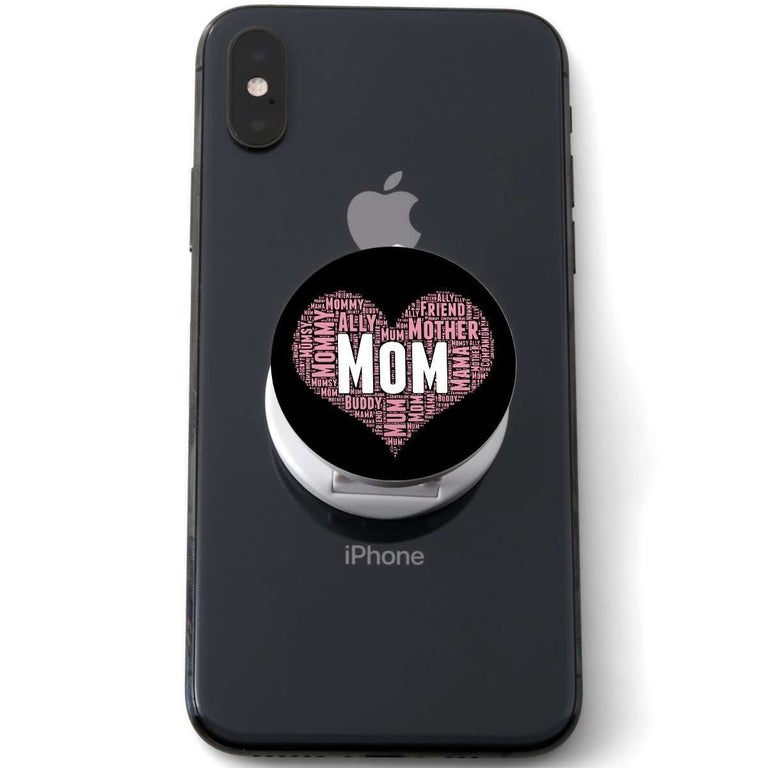 Designs by MyUtopia Shout Out:All the Ways Mom is Special in Your Heart Hinged Pop-out Phone Grip and Stand for Smartphones and Tablets