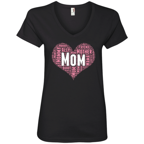 Designs by MyUtopia Shout Out:All the Ways Mom is Special in Your Heart Ladies' V-Neck T-Shirt,Black / S,Ladies T-Shirts