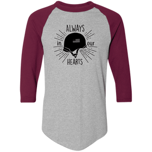 Designs by MyUtopia Shout Out:Always In Our Hearts Army Helmet with Flag 3/4 Length Sleeve Color block Raglan Jersey T-Shirt,Athletic Heather/Maroon / S,Adult Unisex T-Shirt