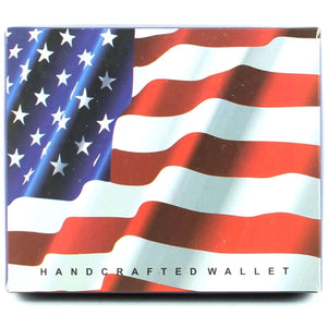 Designs by MyUtopia Shout Out:American Flag Mens Bifold Wallet with Flip Up ID Window Faux Leather