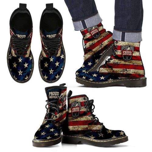Designs by MyUtopia Shout Out:American Pride Suede Boots,Mens / Mens 5 / Red/Blue/Off-White,Lace-up Boots
