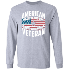 Load image into Gallery viewer, Designs by MyUtopia Shout Out:American Veteran Made in the USA Served With Honor Long Sleeve Ultra Cotton T-Shirt,Sport Grey / S,Long Sleeve T-Shirts