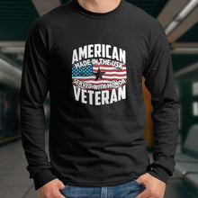 Load image into Gallery viewer, Designs by MyUtopia Shout Out:American Veteran Made in the USA Served With Honor Long Sleeve Ultra Cotton T-Shirt